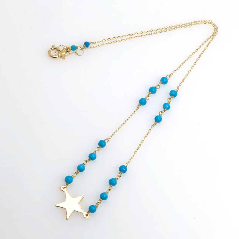 Yellow Gold Star & Turquoise Stones Necklace - Fouxx.com