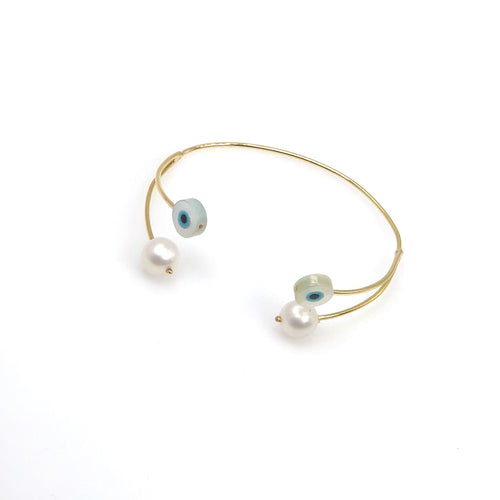 Double Eye & Pearls Yellow Gold Bangle - Fouxx.com
