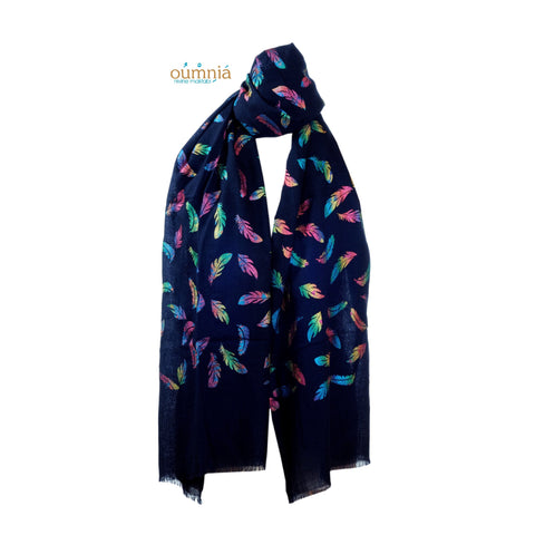 Colorful Feathers on Cashmere Scarf