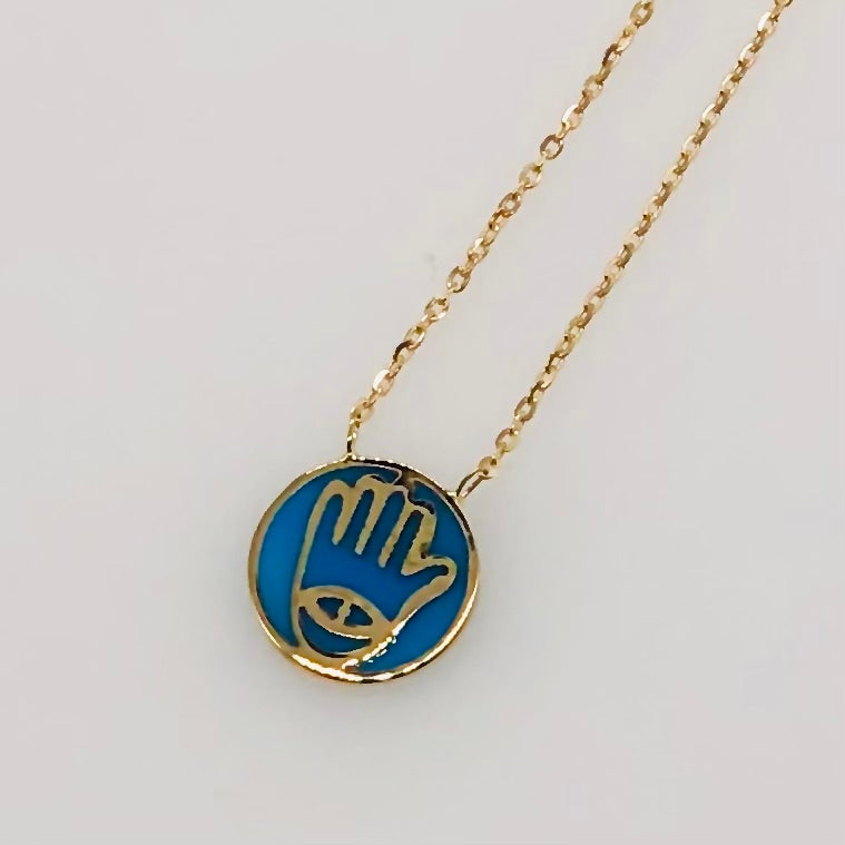 Hamsa Blue Eye Necklace