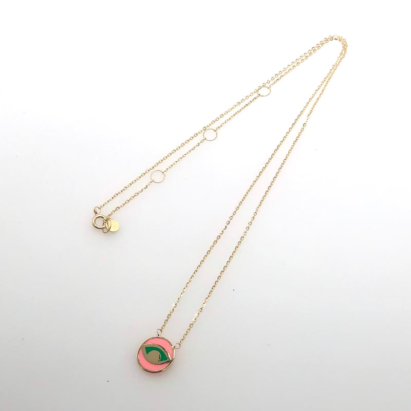 Pink  & Green Eye Necklace