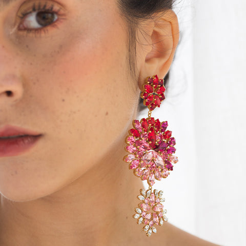 Pink & Red Bloom Earring