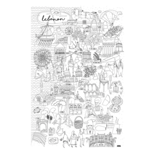 Lebanon Map Coloring Poster