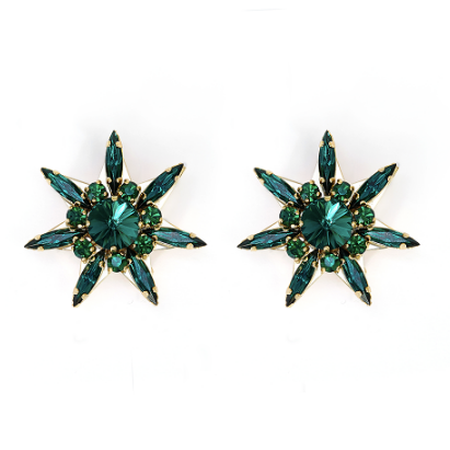 Star Green Earrings