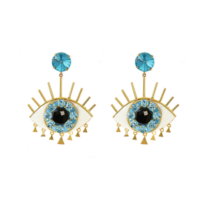 Eye Blue L. Earrings