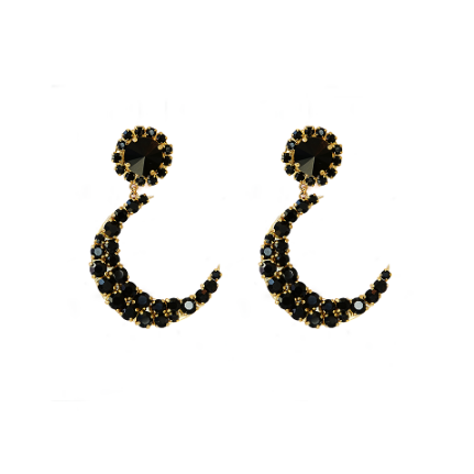 Moon Black L. Earrings