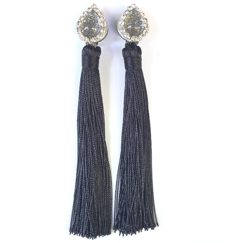 Black Tassels Clip On Earrings - Fouxx.com