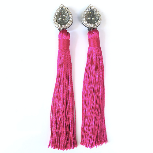 Fuchsia Tassels Clip On Earrings - Fouxx.com