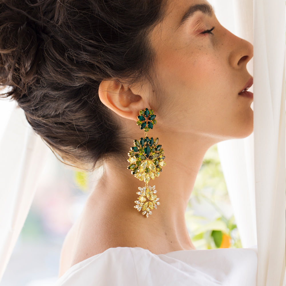 Green & Yellow Bloom Earring