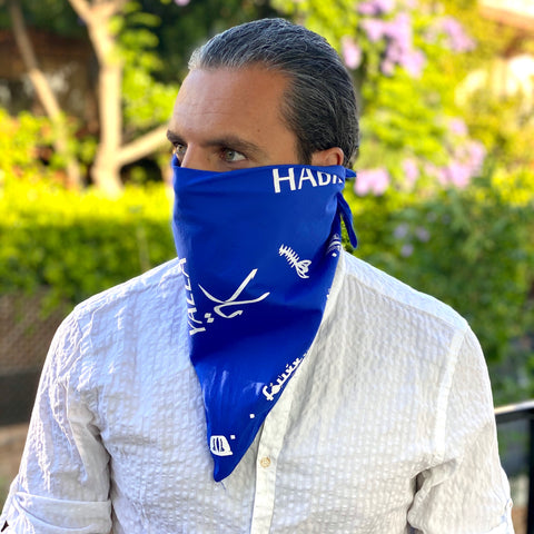 Blue Bandana & Face Cover