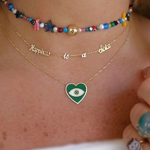 Green Heart with Eye Yellow Gold Necklace - Fouxx.com