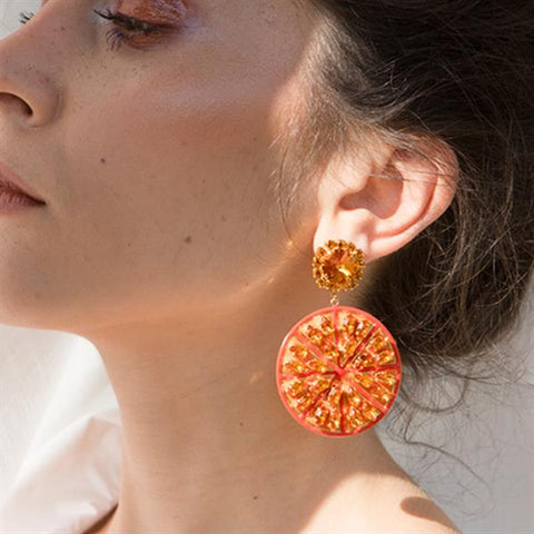 Half Orange Earrings