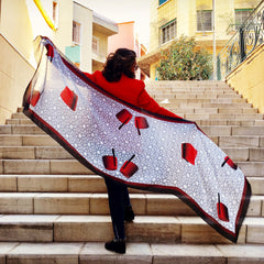 Red Traditional Tarbouch Scarf
