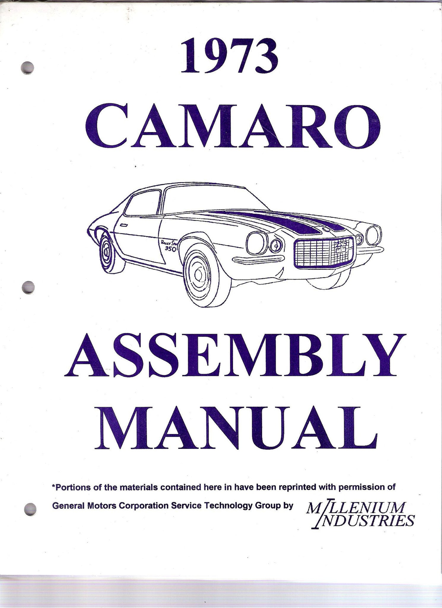 1973 73 Camaro Factory Assembly Manual Z28 Ss Rs 386 Pages Bowtiemuscleparts
