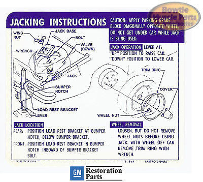 1969 69 CAMARO CONVERTIBLE SS JACK JACKING INSTRUCTIONS TRUNK DECAL N66 3984092