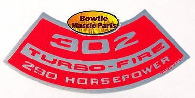 1967 68 1969 69 CAMARO 302 290hp TURBO-FIRE ENGINE DECAL Z28 DZ MO