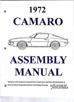 1972 72 Camaro Factory Assembly Manual Z28 SS RS