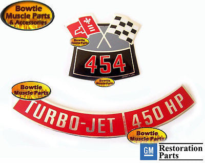 1970 70 CHEVELLE SS 454 450 HP ENGINE DECAL SET LS6 | BowtieMuscleParts
