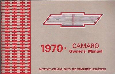 1970 70 Camaro RS SS Z28 Factory Owners Manual Owner's