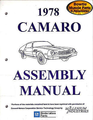 1978 78 Camaro Factory Assembly Manual Z28 RS - 553 Pages