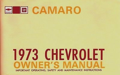 1973 73 Camaro RS SS Z28 Factory Owners Manual Owner's