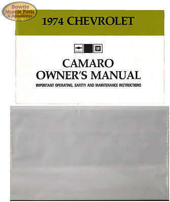 1974 74 Camaro RS Z28 Factory Owners Manual Owner's with Storage Bag Pouch