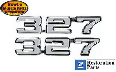 1969 69 CAMARO 327 FENDER EMBLEMS EMBLEM LM1 PAIR  EXCELLENT QUALITY BEST FIT