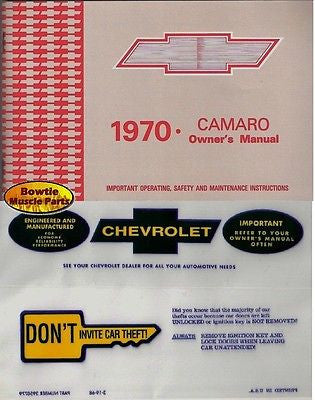 1970 70 Camaro Factory Owners Manual with Storage Bag