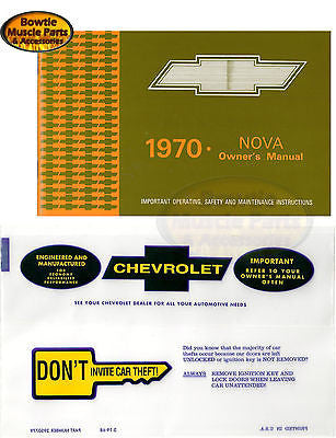 1970 70 Nova Factory Correct Owners Manual Operators Operation Owner's