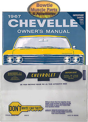 1967 67 CHEVELLE  EL CAMINO WAGON FACTORY OWNERS OWNER'S MANUAL with POUCH BAG