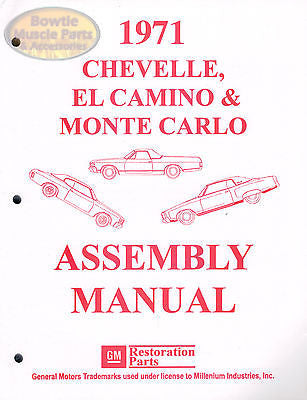 1971 71 Chevelle Malibu El Camino Monte Carlo SS Factory Assembly Manual Book
