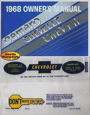 68 CAMARO CHEVELLE NOVA CHEVY II EL CAMINO FACTORY OWNERS MANUAL W/ STORAGE BAG