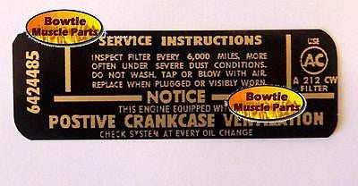 Air Cleaner Service Instruction Decal 6424487 Automotive 1967 67 Camaro SS 350 With A.I.R