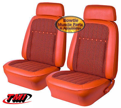 "69 CAMARO COUPE DLX HOUNDSTOOTH FRONT REAR SEAT COVERS UPHOLSTERY 53"" REAR SEAT"