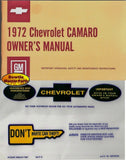 1972 72 Camaro Factory Owners Manual with Storage Bag