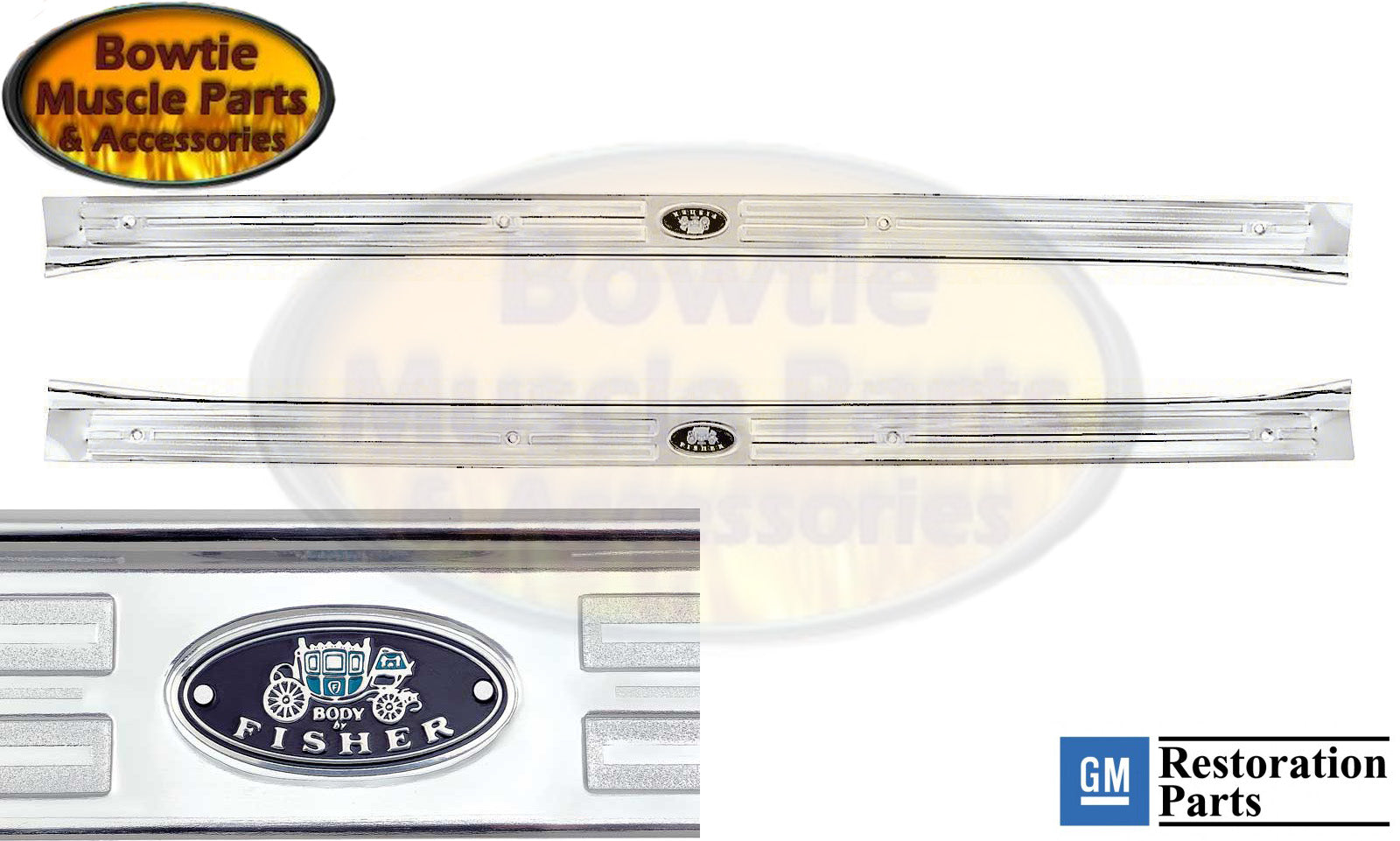 67 68 69 CAMARO FIREBIRD BODY BY FISHER DOOR SILL PLATES GM LICENSED PAIR