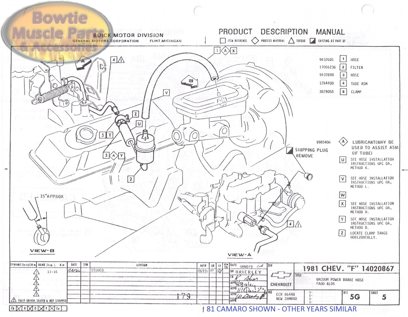 1982 82 Camaro Factory Assembly Manual Z28 | BowtieMuscleParts