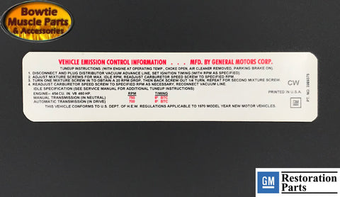 70 454 460HP LS7 COREVETTE EMISSIONS TUNE-UP DECAL LATE