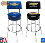 CHEVROLET BAR STOOL COUNTER SHOP WITH BACK REST MADE IN USA!