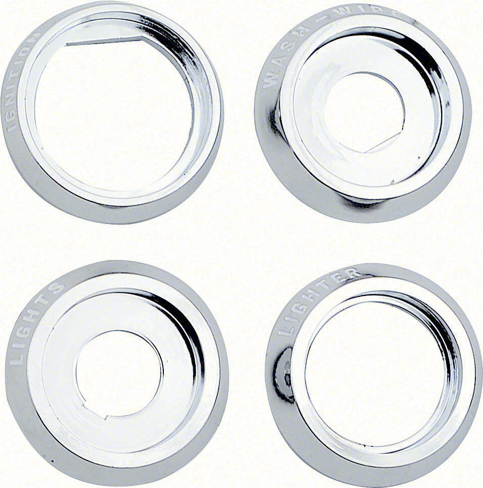 1968 68 CAMARO DASH KNOB BEZEL SET KIT LIGHTER IGINTION LIGHTS WIPER BEZELS 4 PC