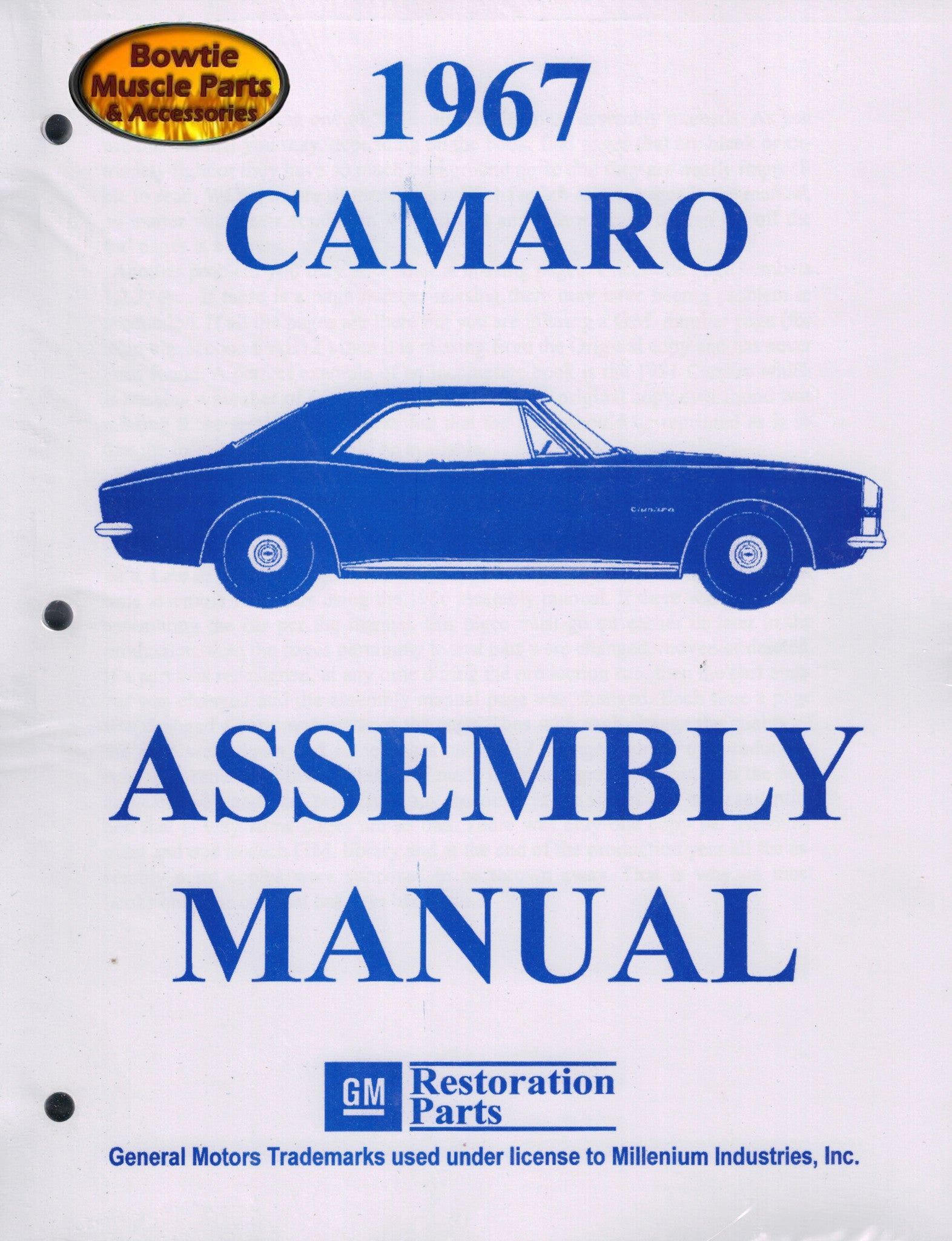 1967 67 camaro factory assembly manual z28 ss rs 418 pages rh bowtiemuscleparts com 65 Camaro 66 Camaro