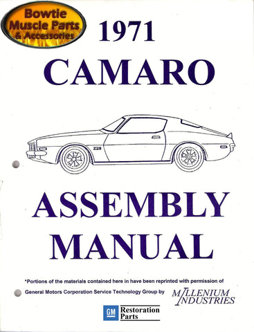 1971 71 Camaro Factory Assembly Manual Z28 SS RS - 426 Pages!