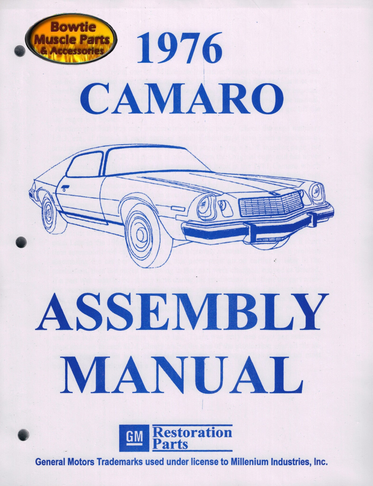 1976 76 Camaro Factory Assembly Manual Z28 SS RS - 456 Pages!