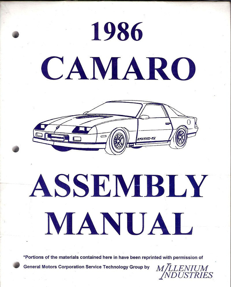 1986 86 Camaro Factory Assembly Manual Z28 - 609 Pages!