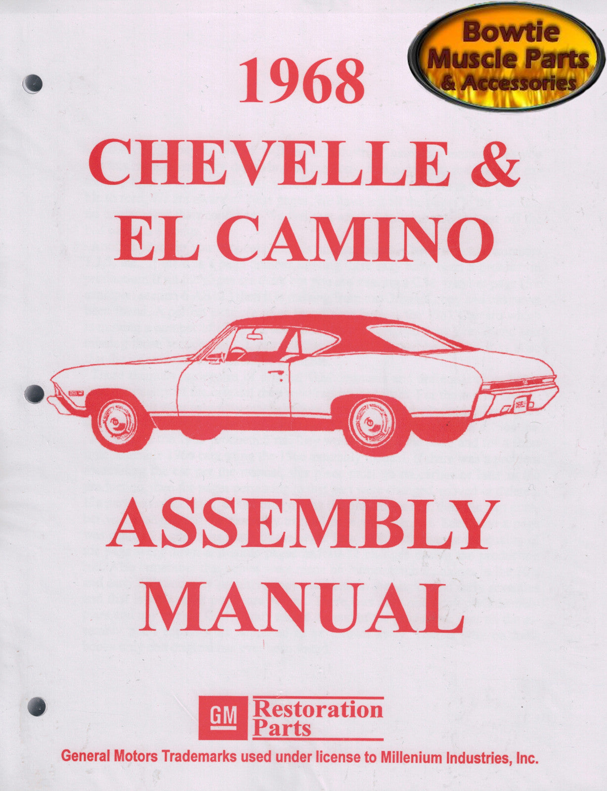 1968 68 Chevelle Malibu El Camino SS Factory Assembly Manual Book - 450 Pages!