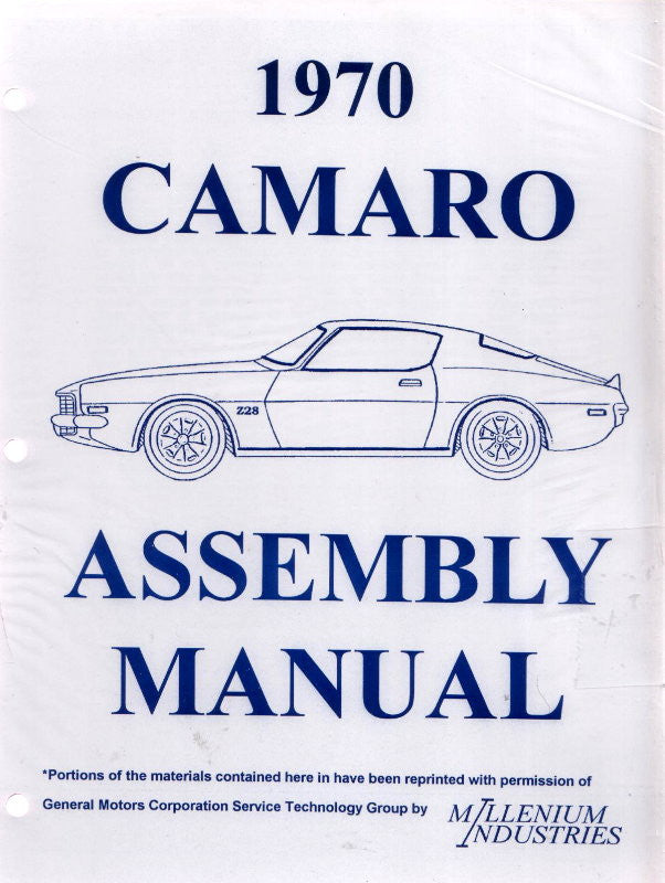 1970 70 Camaro Factory Assembly Manual Z28 SS RS