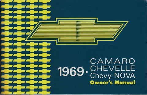 1969 69 CAMARO CHEVELLE NOVA EL CAMINO FACTORY OWNERS MANUAL W/ STORAGE BAG