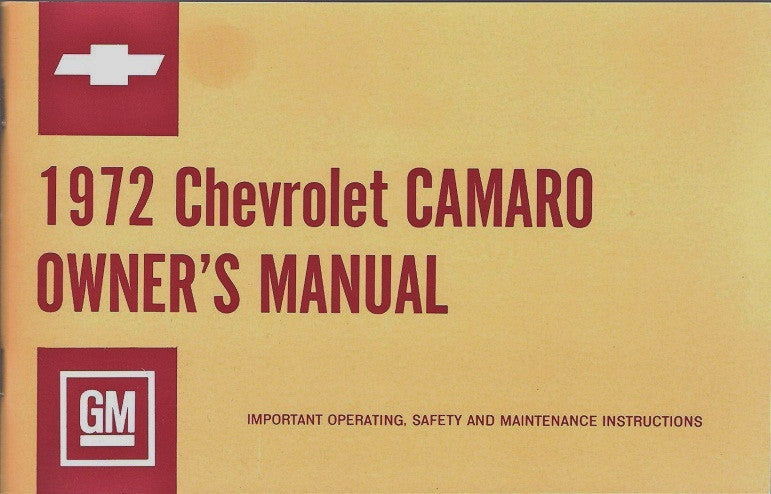 1972 72 Camaro Factory Owners Manual Operators