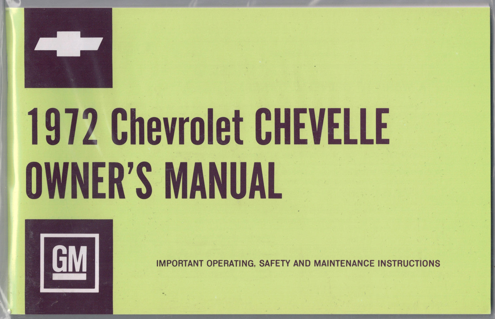 1972 72 CHEVELLE EL CAMINO WAGON CONVERTIBLE FACTORY OWNERS OWNER'S MANUAL