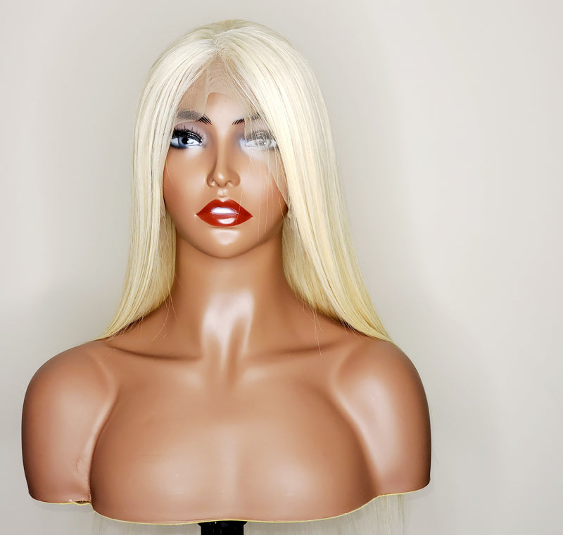 Raw Virgin Burmese Straight Lace Frontal Wig- #613 Platinum Blonde